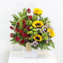 Sunny Flowers in white basket